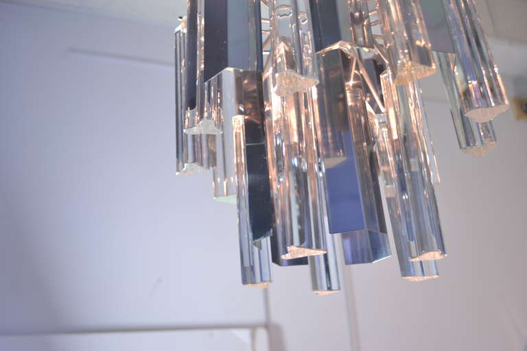 Italian Camer Steel and Glass Chandelier