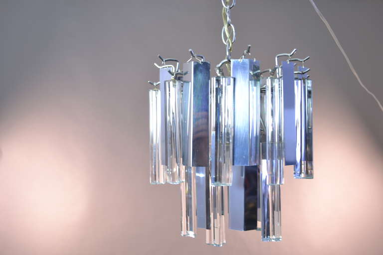 Murano Glass Camer Steel and Glass Chandelier