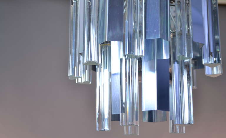 Mid-20th Century Camer Steel and Glass Chandelier