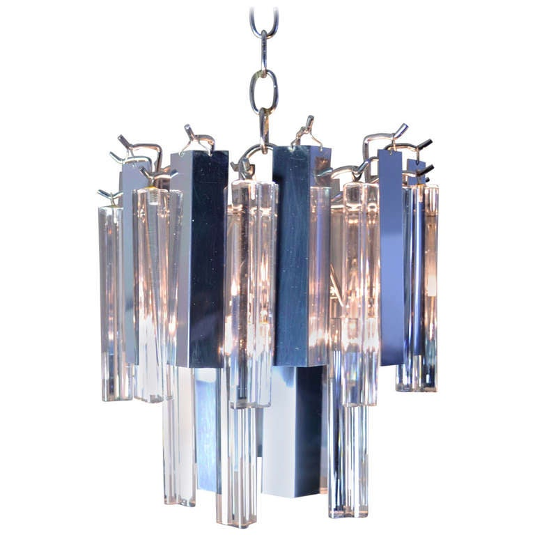 Camer Steel and Glass Chandelier