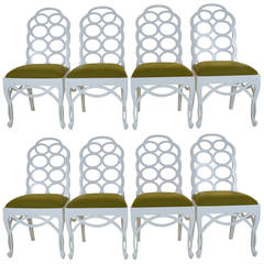 Set of Eight Dining Chairs in the Manner of Frances Elkins, circa 1960