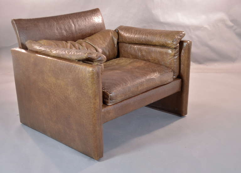 Slouchy Italian Lounge Chair in Ostrich at 1stdibs