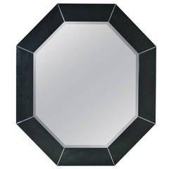 Large Octagonal Mirror in Custom Black Finish