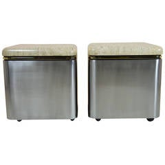 Pair of Custom Steel and Travertine Marble Tables