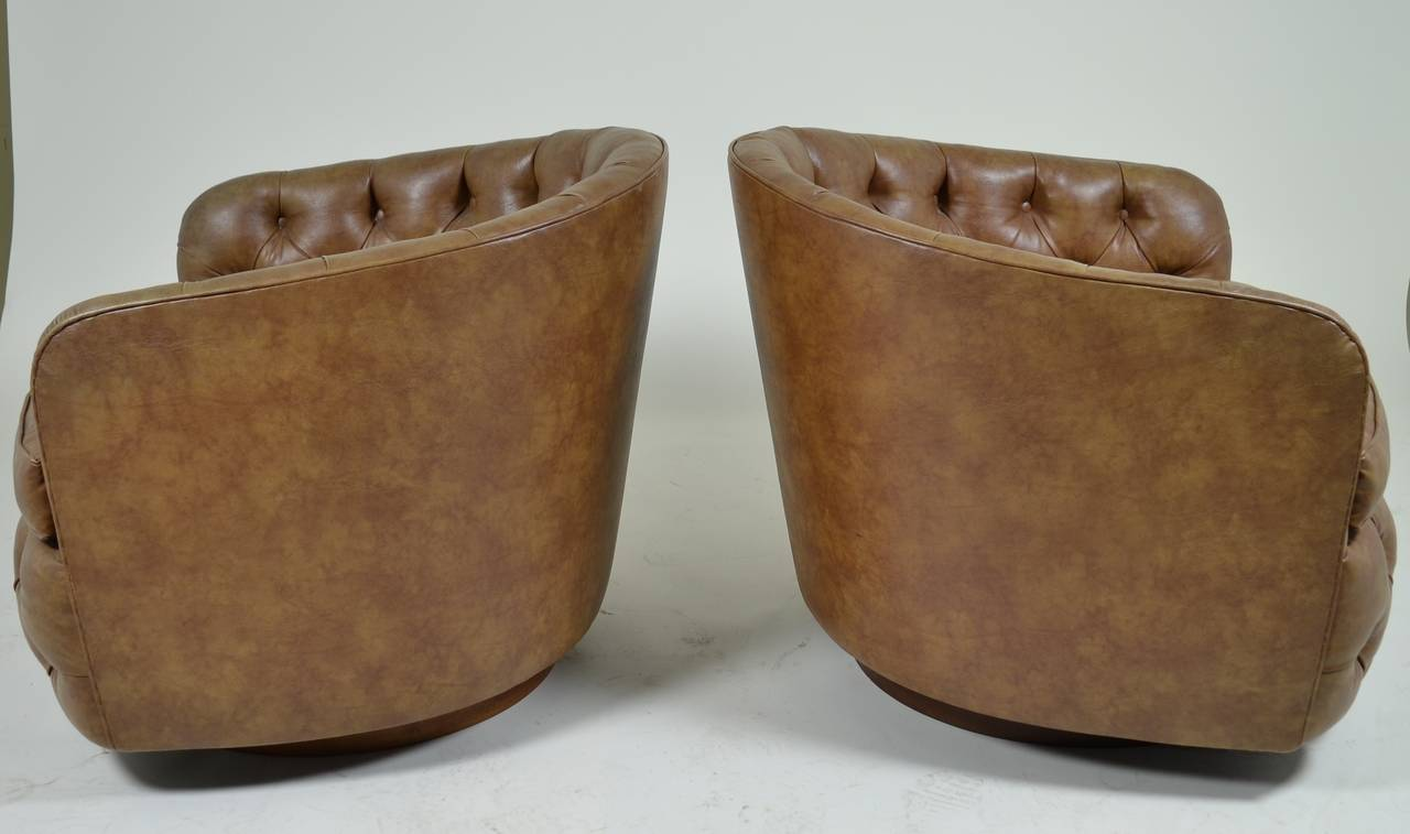 Pair of Milo Baughman Swivel, Tilt Barrel-Back Chairs 3