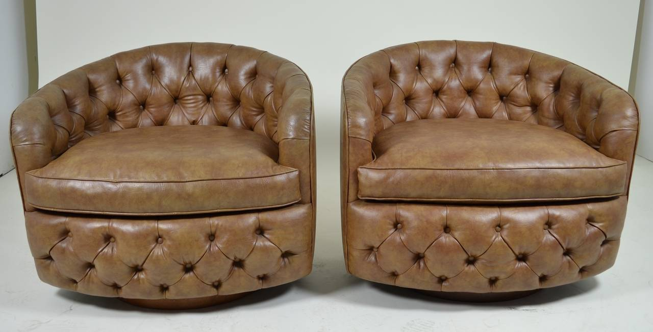Pair of Milo Baughman Swivel, Tilt Barrel-Back Chairs 2