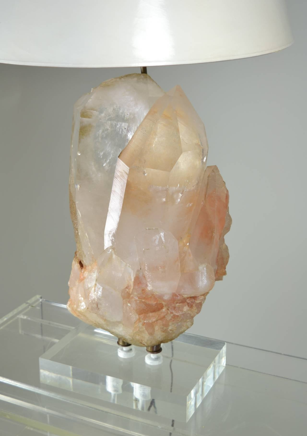 On A Heavy Lucite Base, This Is A Single, Large, Rosy Quartz Crystal