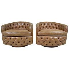 Pair of Milo Baughman Swivel, Tilt Barrel-Back Chairs