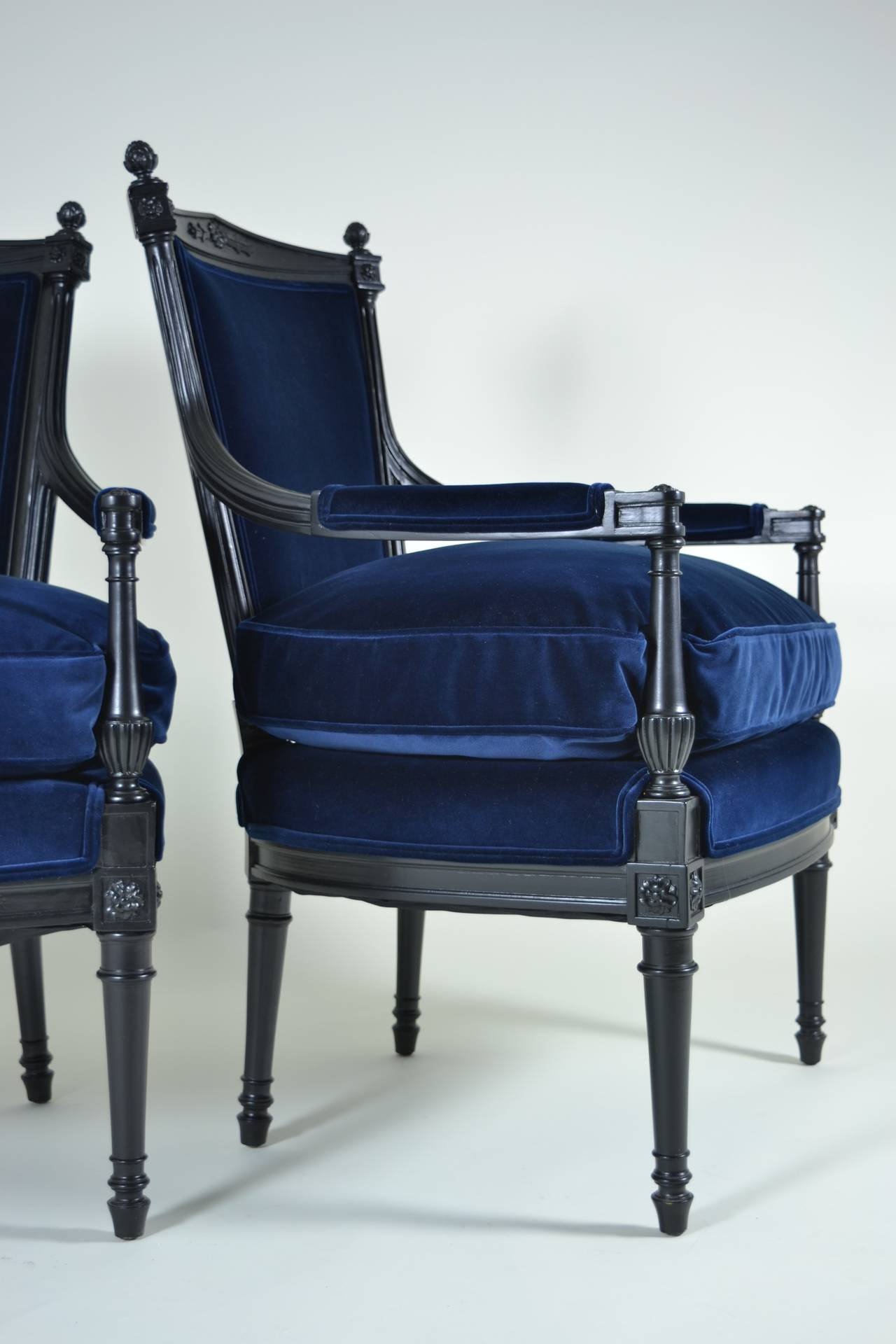 pair of directoire style fauteuil chairs for sale at 1stdibs. Black Bedroom Furniture Sets. Home Design Ideas