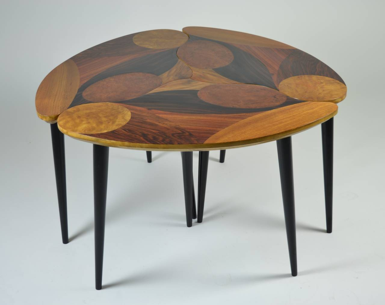 Swedish Modern Three-Part Cocktail Table With Specimen