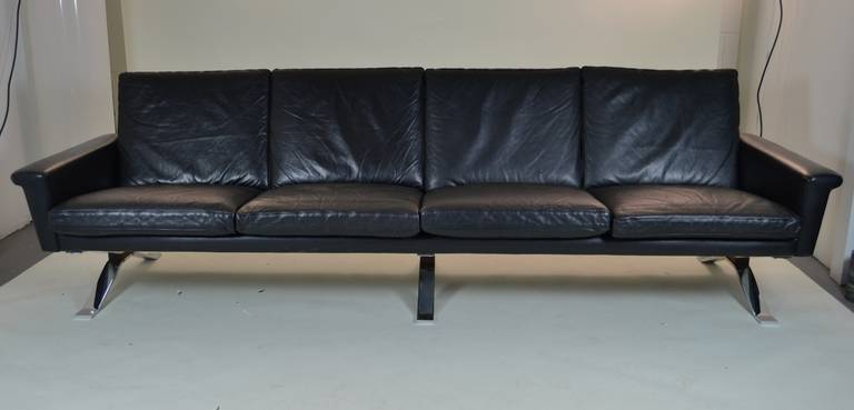 Maurice Villency Four-Seat Leather Sofa