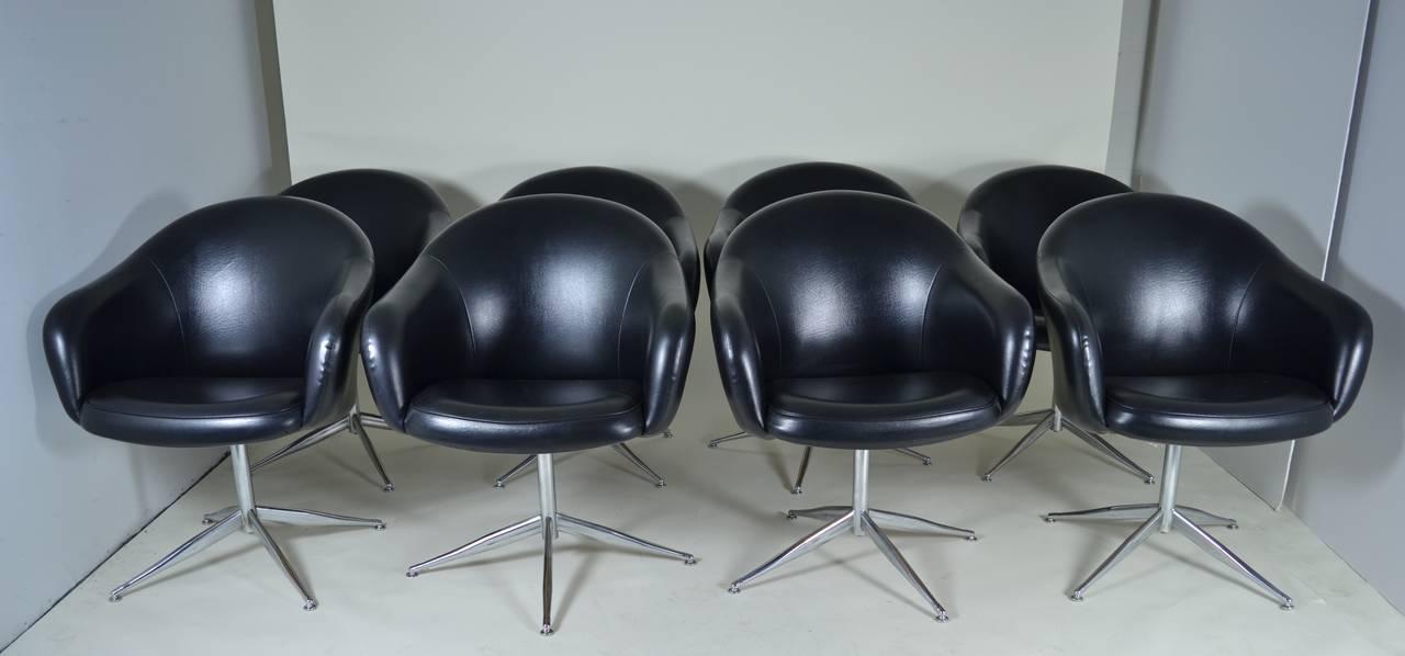 set of 8 barrel swivel dining chairs circa 1970s at 1stdibs
