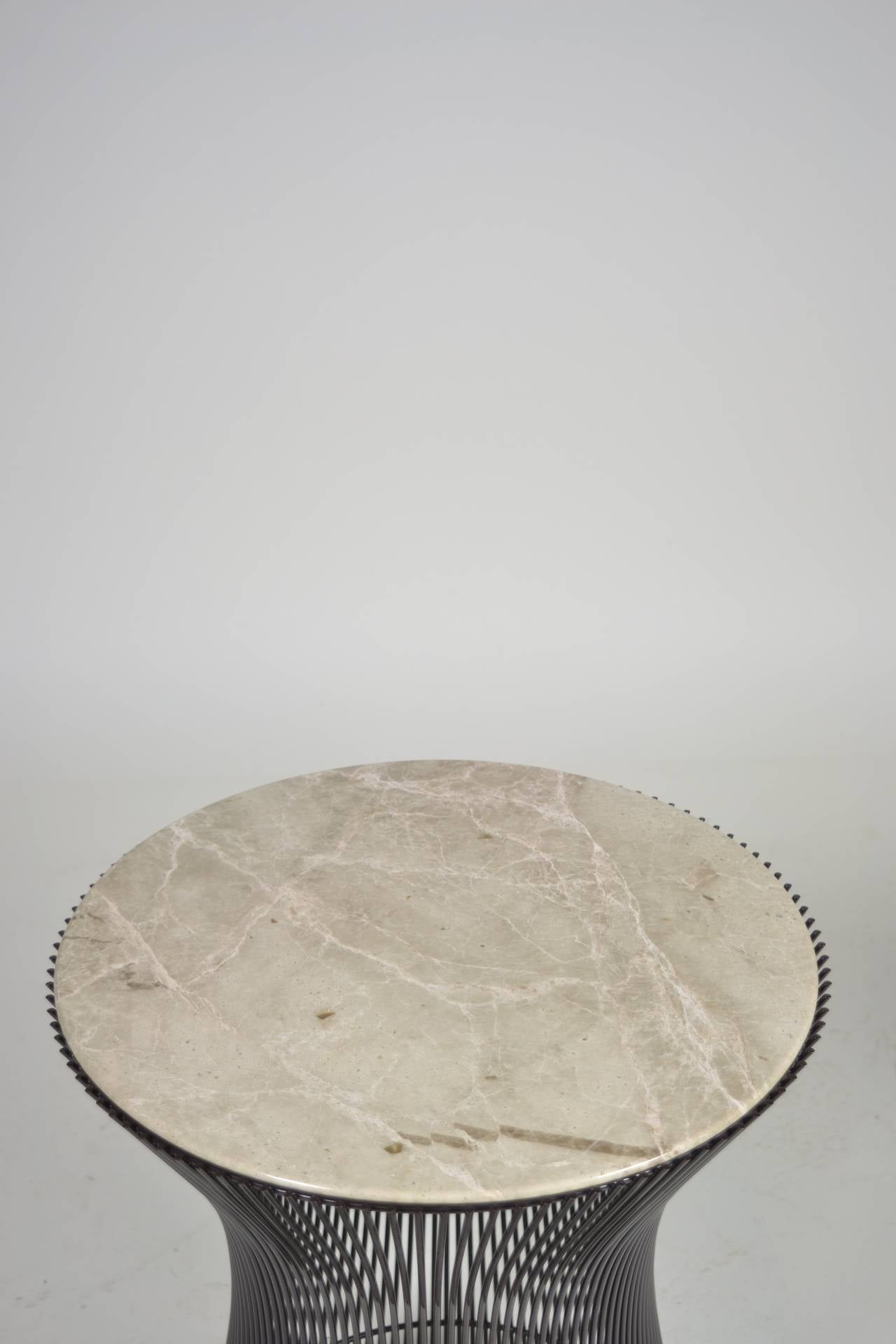 Warren Platner for Knoll Bronze Finish and Marble Side Table