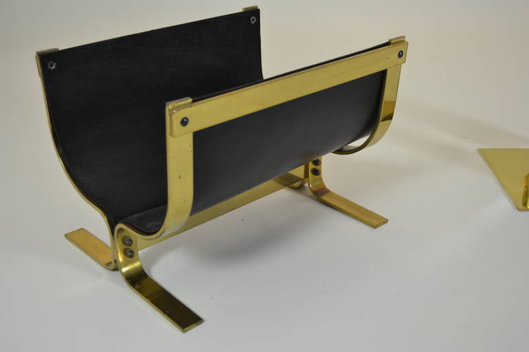 Alessandro Albrizzi Brass Leather Log Holder In Excellent Condition For Sale In Stamford, CT