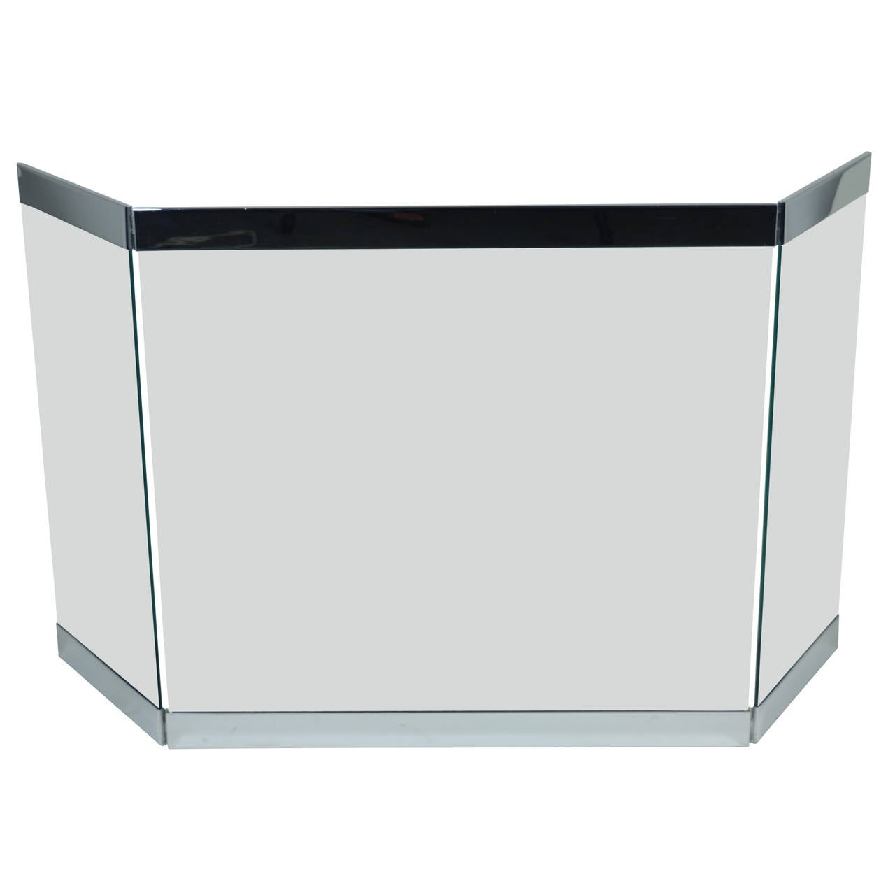 this modernist chrome and glass fire screen is no longer available