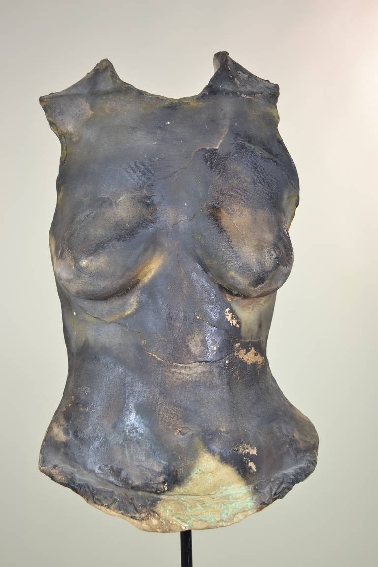 Louis Mendez Ceramic Bust on Custom Stand In Excellent Condition For Sale In Stamford, CT