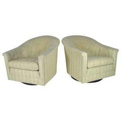 Pair of Modern Swivel Lounge Chairs, Circa 1950s