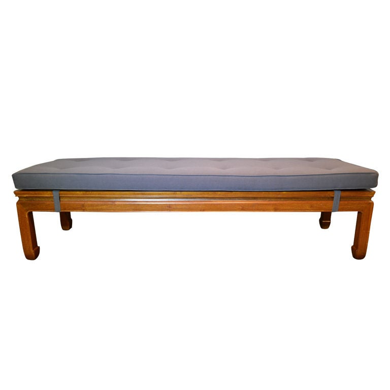 Teak Wood Bench With Custom Cushion At 1stdibs