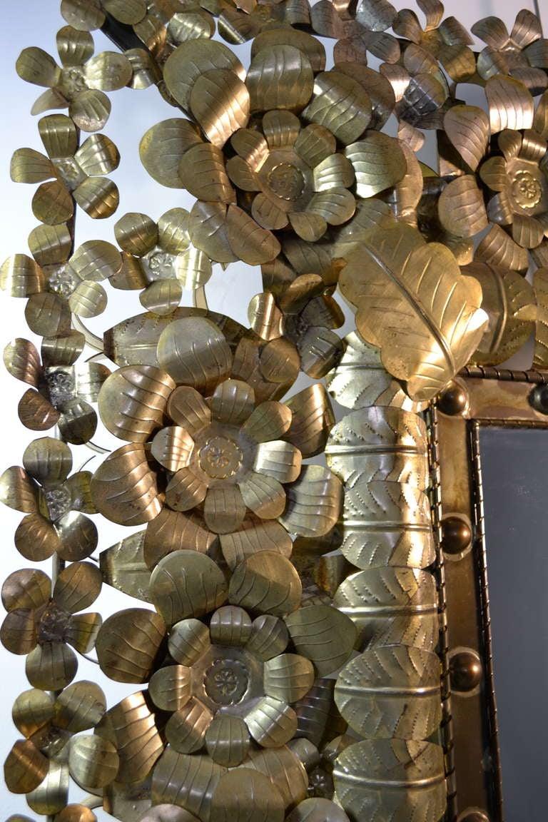 Large Mexican Tin Art Mirror At 1stdibs