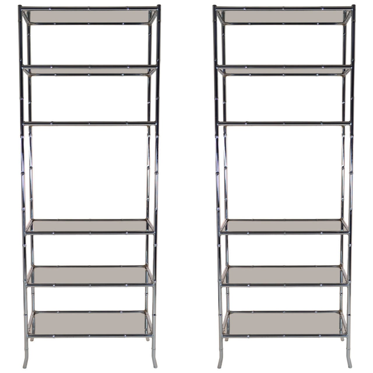 Pair of Chrome Faux Bamboo Étagères with Smoked Glass Shelves