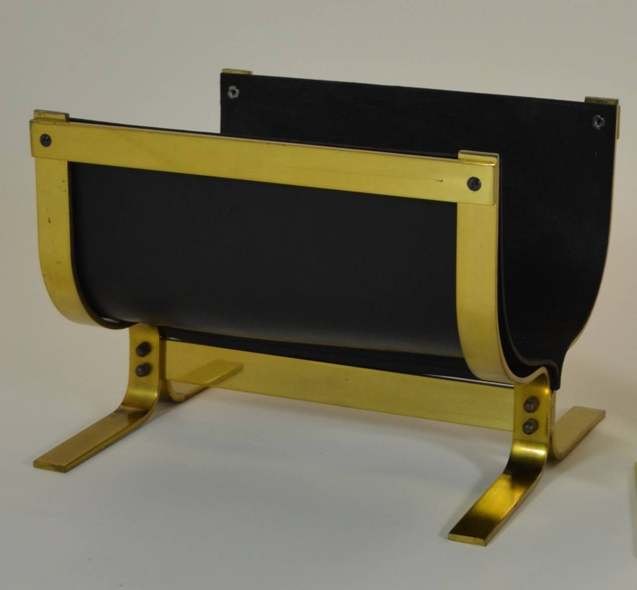 Mid-20th Century Alessandro Albrizzi Brass Leather Log Holder For Sale