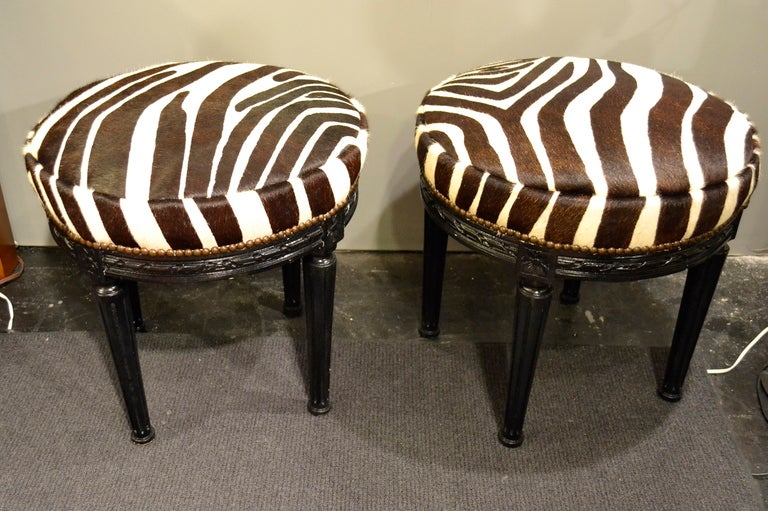 Pair Of Stools W Zebra Print Cow Hide Covers At 1stdibs