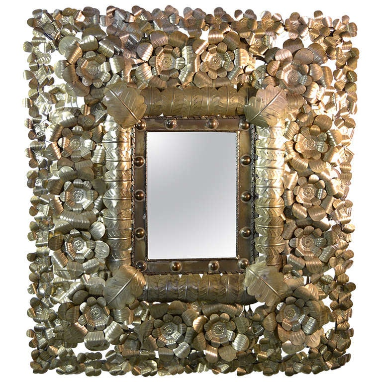 Large Mexican Tin Art Mirror For