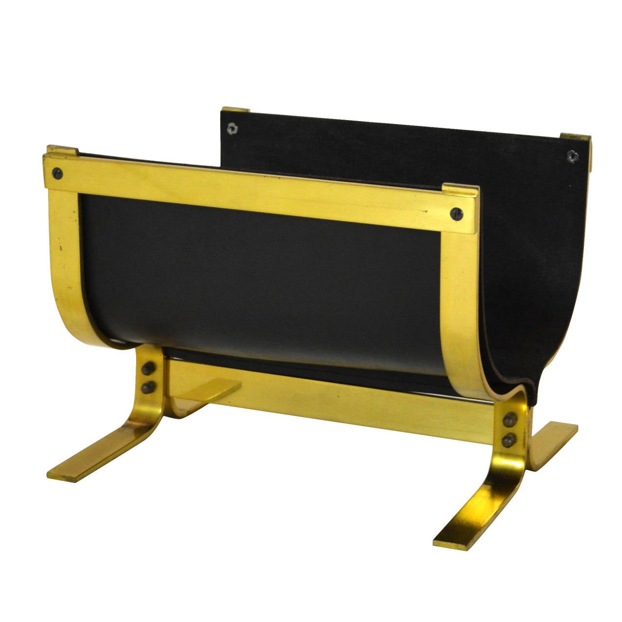 Alessandro Albrizzi Brass Leather Log Holder For Sale