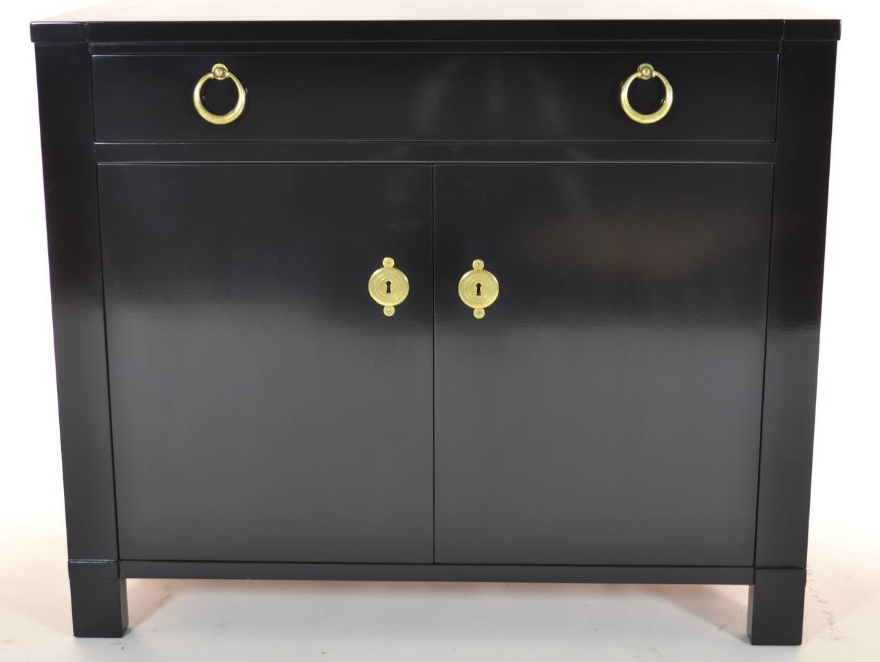 Black Lacquered Solid Mahogany Bedside Table Shropshire Design