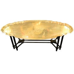 Brass Tray on Faux Bamboo Stand Cocktail Table by Baker Furniture