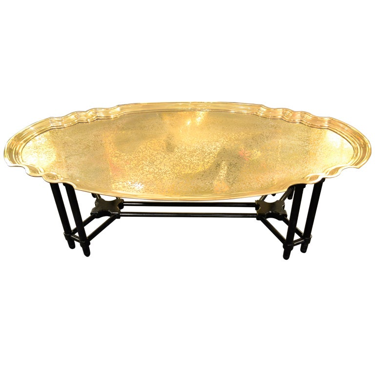 Brass Tray On Faux Bamboo Stand Cocktail Table By Baker Furniture At
