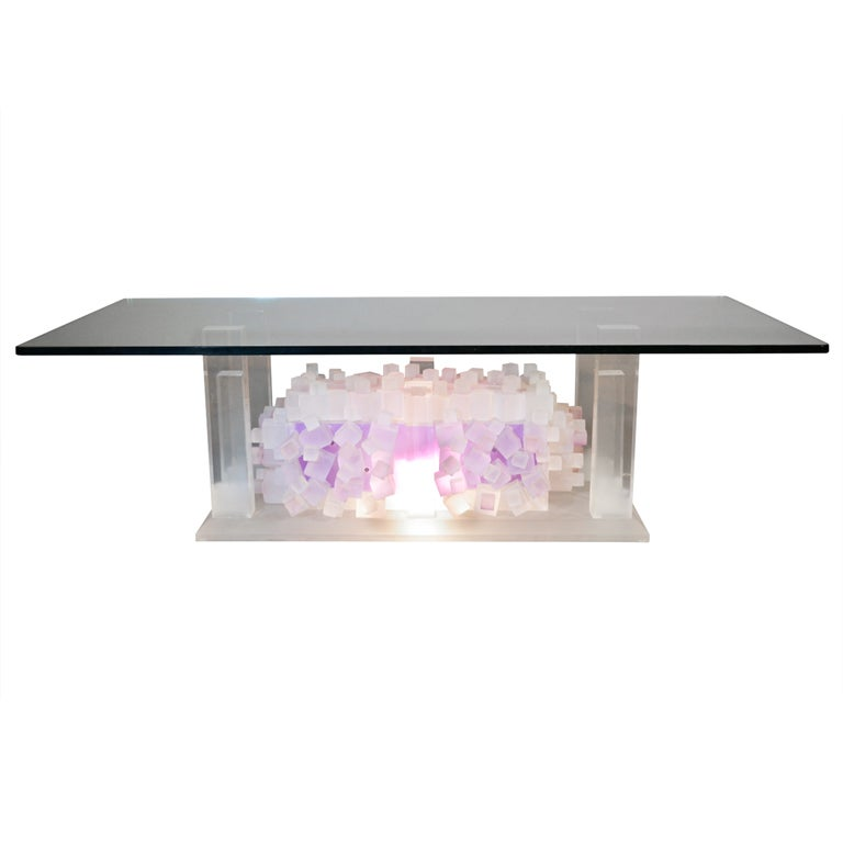 Lighted Lucite Cocktail Table At 1stdibs