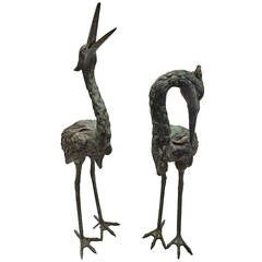 Pair of Bronze Heron Statues