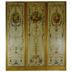 Belle Epoque French Painted Warreau Scene Three Panel Screen