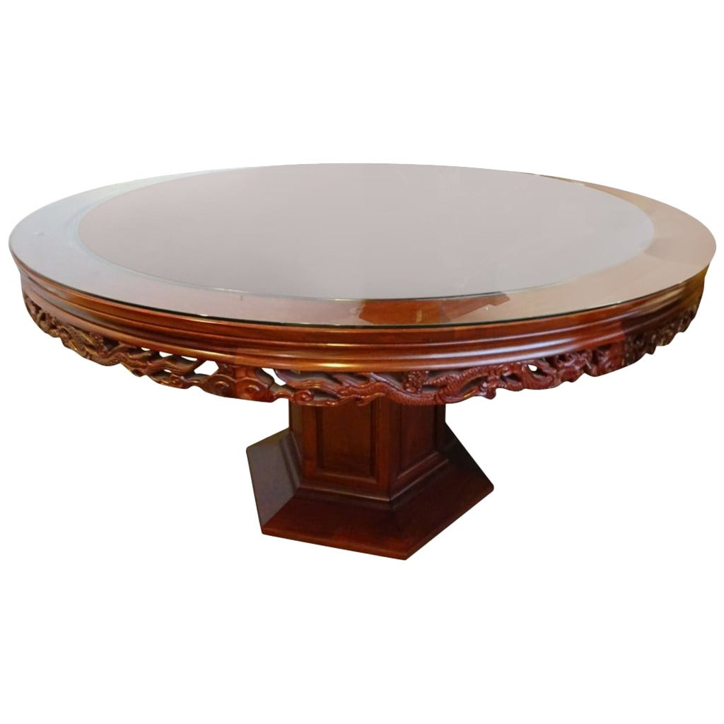 Carved Chinese Rosewood Circular Dining Table At 1stdibs