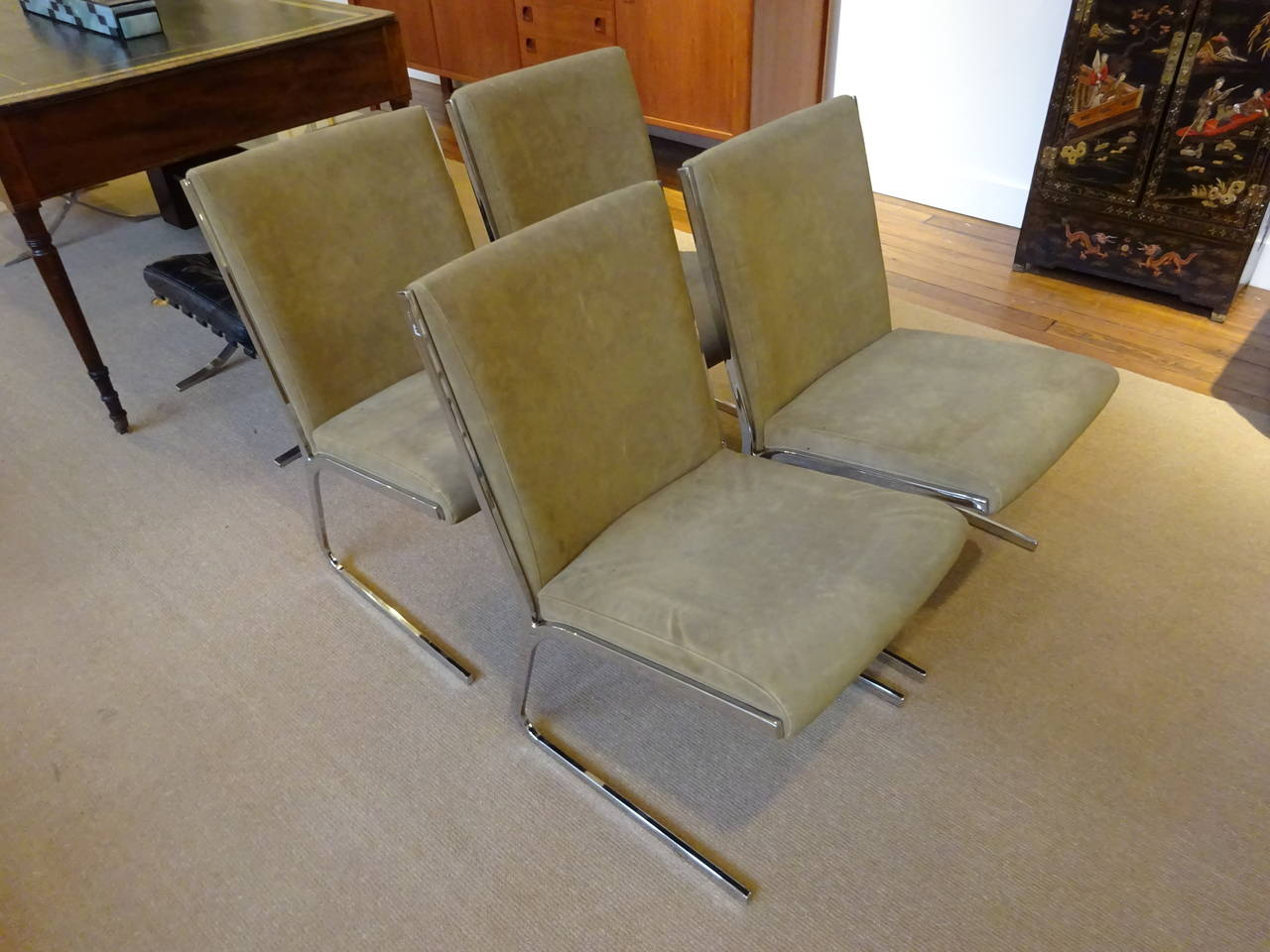 set of four chrome and suede dining chairs at 1stdibs