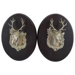 Pair of English Sterling Deer Trophies, Thomas Johnson 1849