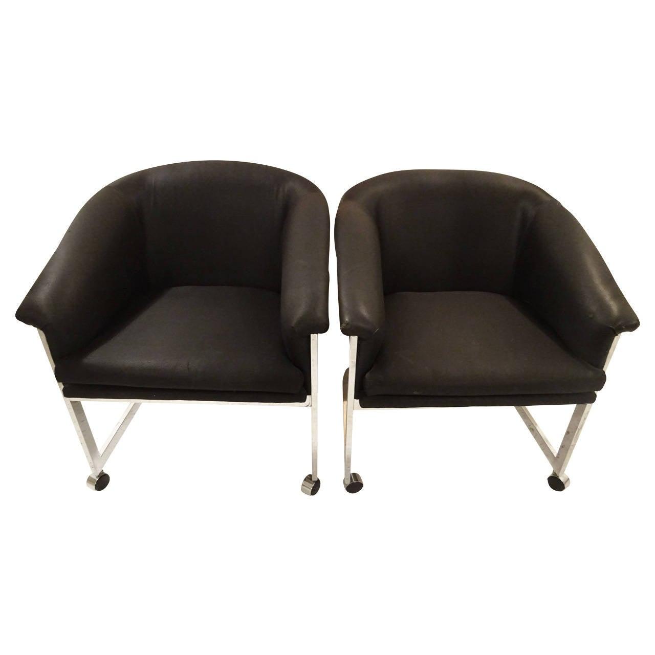 Milo Baughman Style Club Chairs At 1stdibs