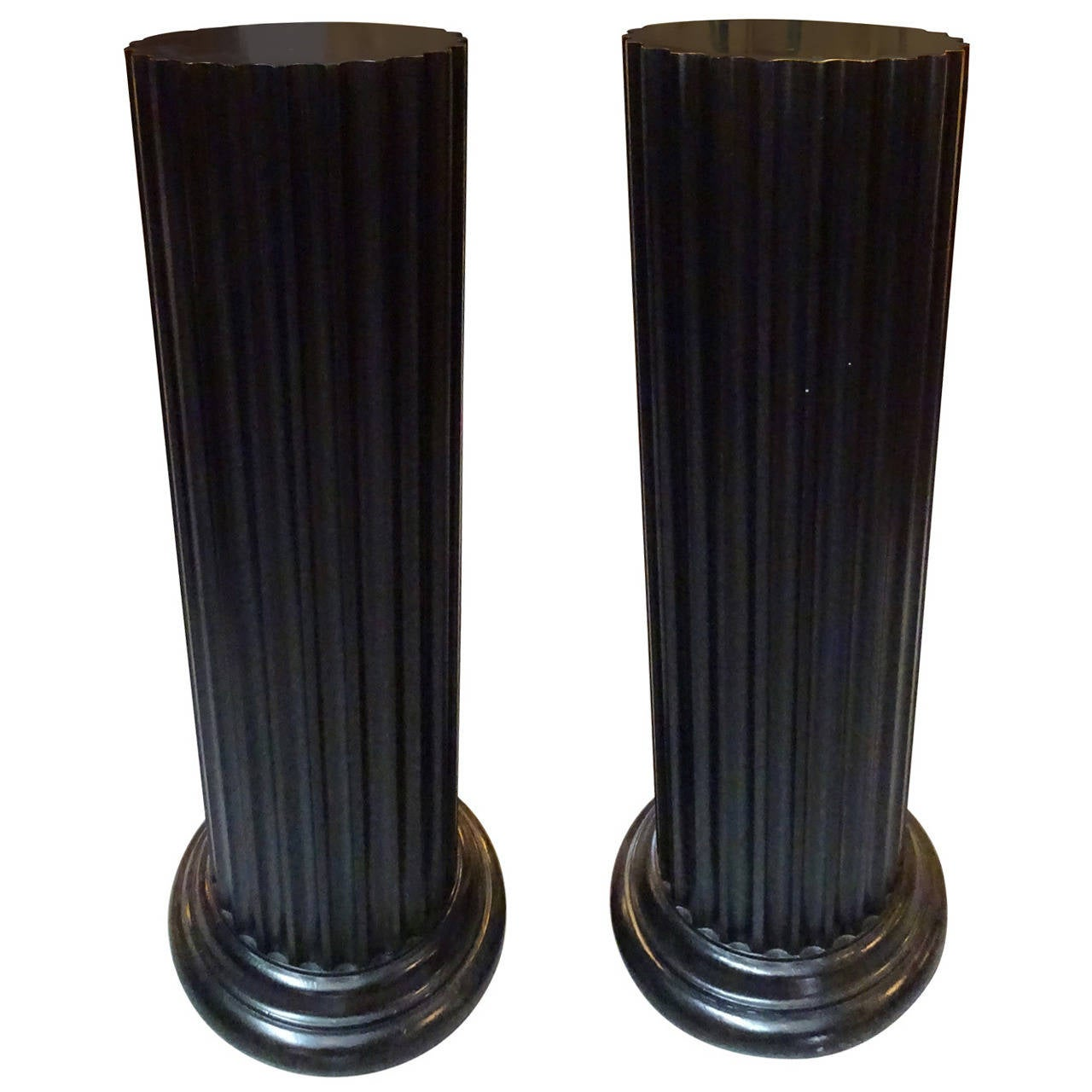 Pair of widdicomb fluted pedestals at 1stdibs for Fluted pedestal base