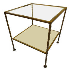 French Modern Gilt Metal Two Tiered Cube Table