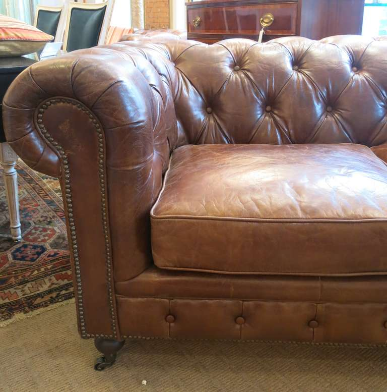 Pair Refurbished English Leather Chesterfield Sofa Two Available Sold Individually Each One With