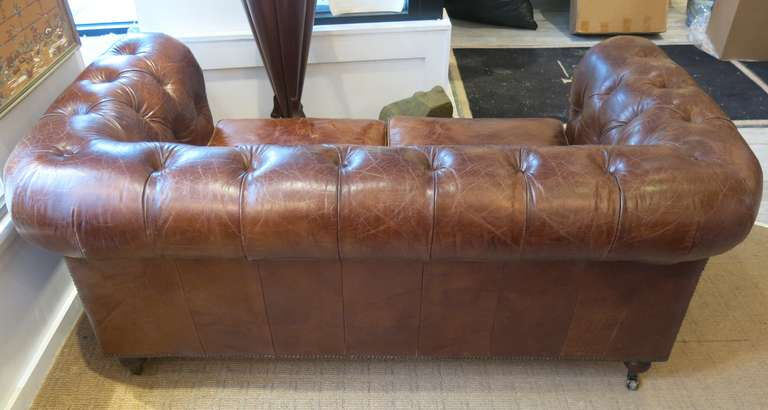 20th Century Pair of Refurbished English Leather Chesterfield Sofa