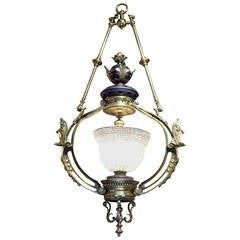 Massive Victorian Bronze Chandelier Attributed to F&C Osler