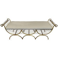 Italian Neoclassical Style Gilt Metal Bench