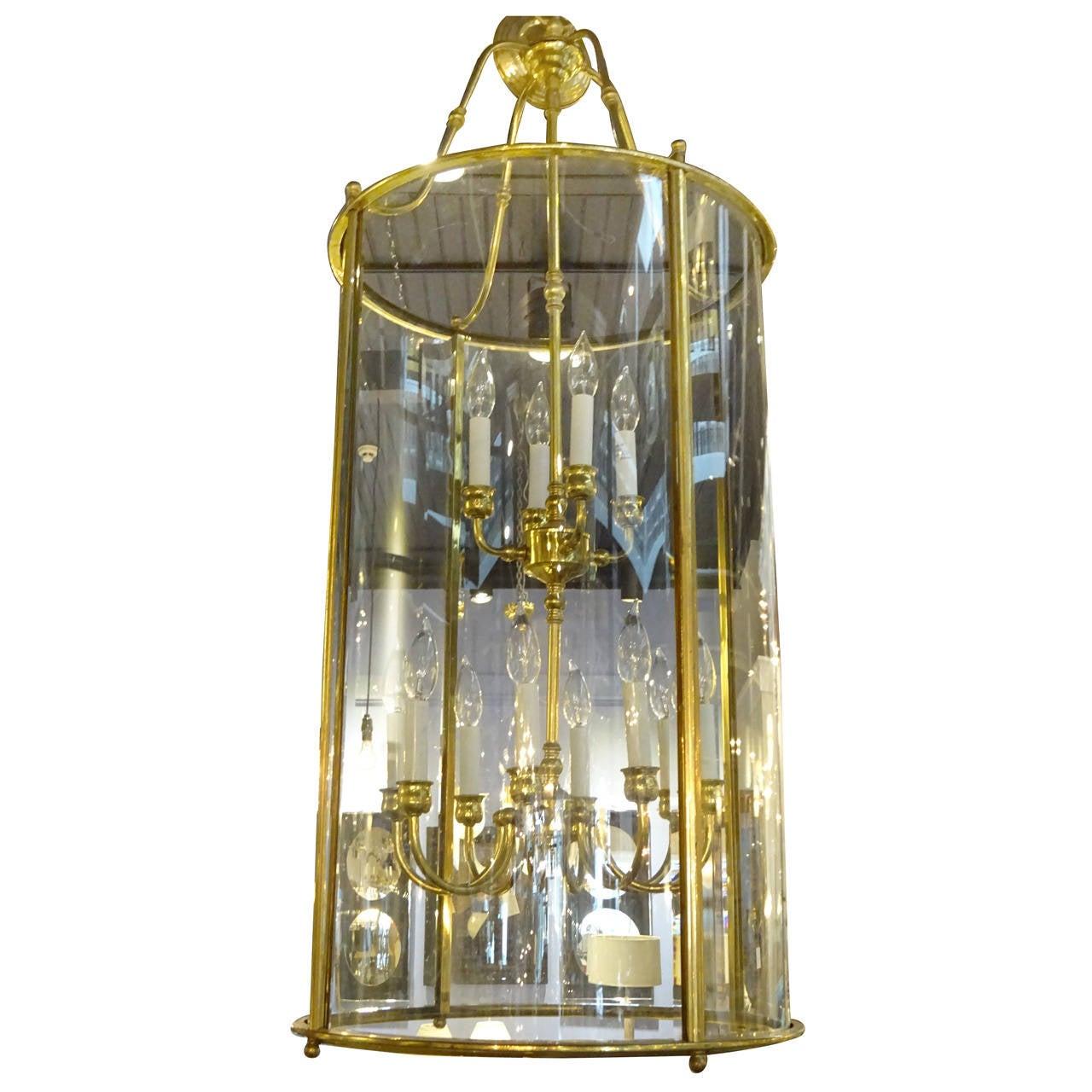 Large Vintage Brass Double Hanging Lantern At 1stdibs