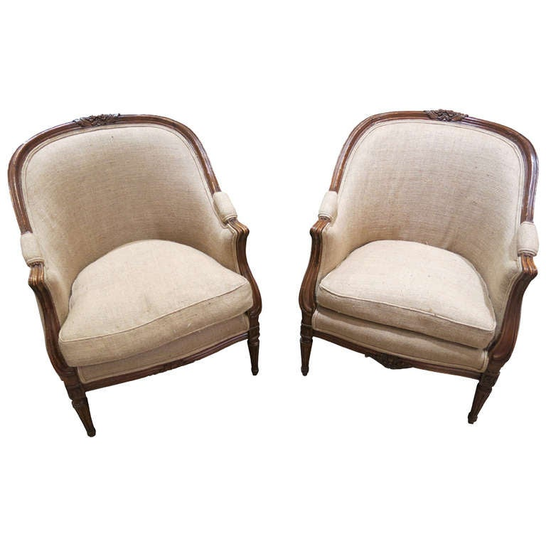 Pair of louis xvi style walnut bergere chairs at 1stdibs
