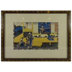 "Japanese Woodblock Print, ""Tale of Gengi"" by Toyokuni III"