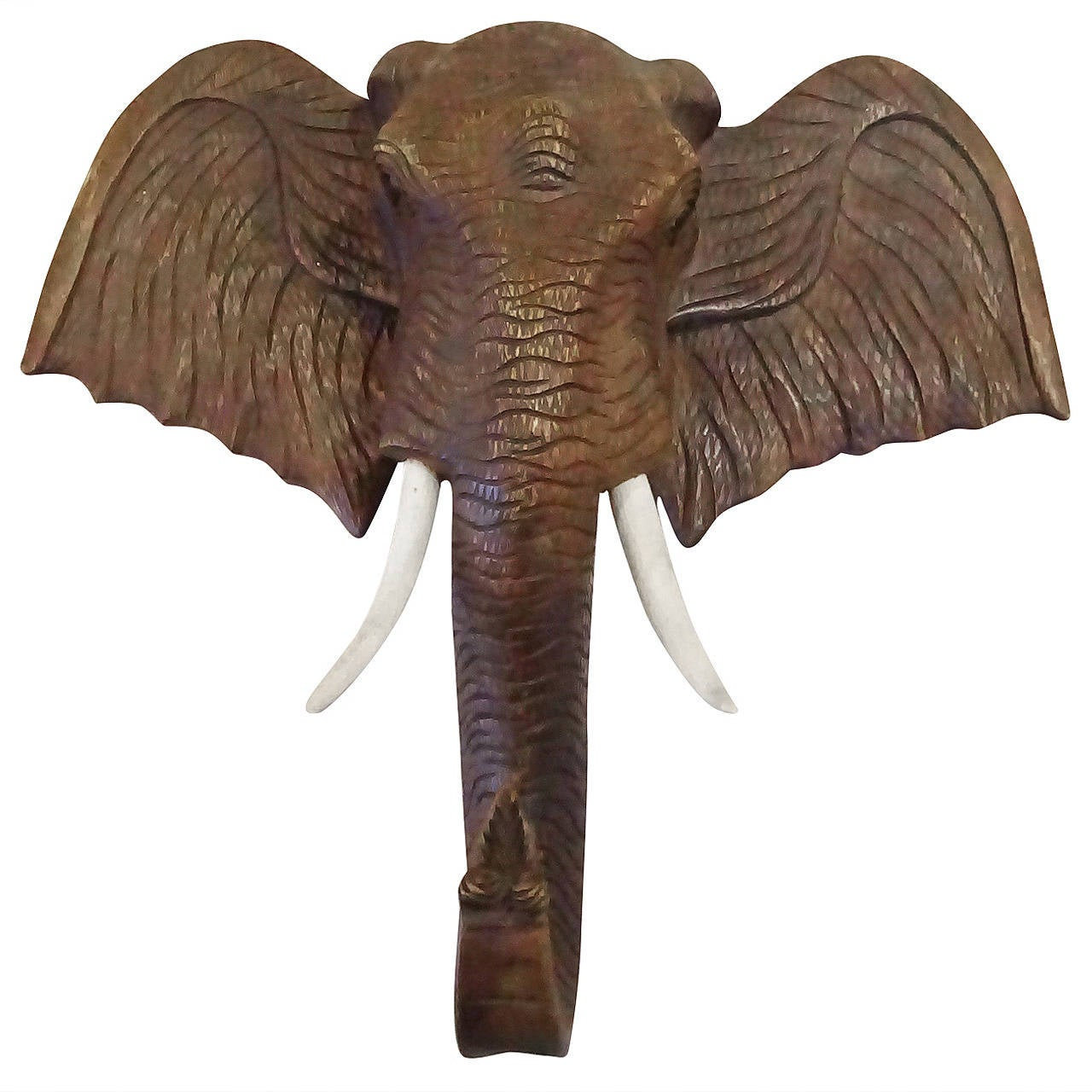 Vintage carved wood hanging elephant head at stdibs