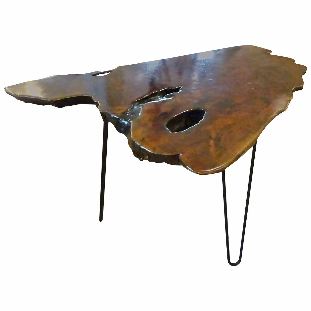 Hairpin Legs Table : Mid Century Organic Slab Table with Hairpin Legs at 1stdibs