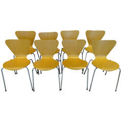 Eight Plycraft Style Stacking Dining Chairs